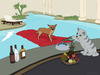 Cartoon: Alzira (small) by fcartoons tagged alzira,dog,pool,hund,matratze,cat,katze,swimmingpool,diener,flasche,whisky,hotel,cartoon,fcartoons