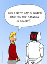 Cartoon: STUPID QUESTION (small) by fcartoons tagged ask cartoon date dinner question robot story tell invite