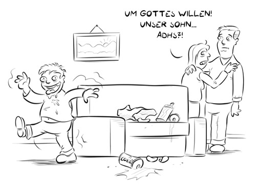 Cartoon: ADHS (medium) by Rob tagged couch,energydrink,coke,soda,chips,junge,boy,adults,adult,eltern,ritalin,adhs,sofa