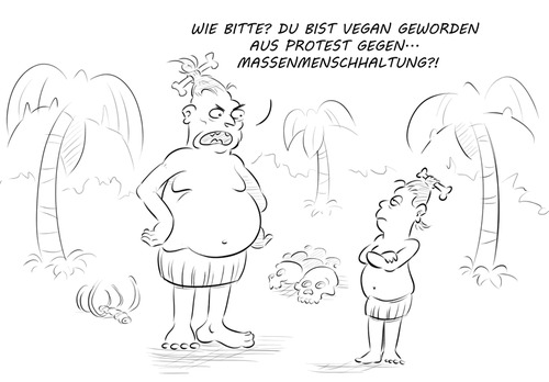 Cartoon: Kannibalismus-Kritik (medium) by Rob tagged kannibale,kannibalen,cannibal,cannibals,vegan,veganer,veganismus,massentierhaltung,tiere,menschen,urwald,jungle,busch,palme,palm,schädel,skull