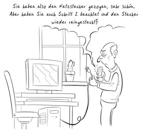 Cartoon: PC-Hilfe (medium) by Rob tagged pc,computer,plug,stecker,help,noob,monitor,screen,window,fenster,cactus,kaktus,man