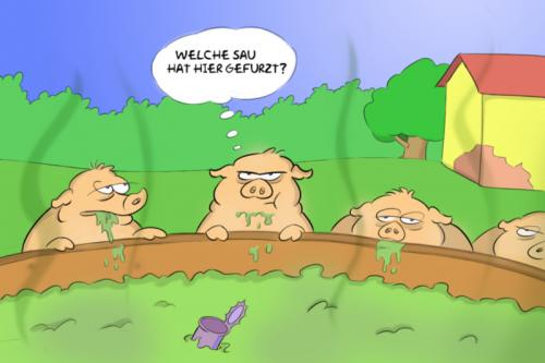 Cartoon: Schweinerei (medium) by Rob tagged pigs,farm,fart