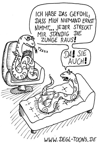 Cartoon: Schlange in Therapie (medium) by DEGL-TOONS tagged schlange,zunge,therapie,psychologe