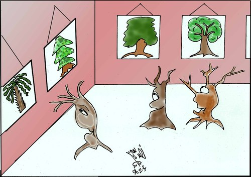 Cartoon: TREE EXHIBITION (medium) by AHMEDSAMIRFARID tagged ahmed,samir,farid,tree,exhibition,egyptair,cartoon,caricature