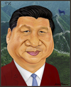 Cartoon: Xi Jinping. (small) by Maria Hamrin tagged china,communist,leader,chief,strongman,wall,horse