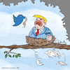 Cartoon: Kuckuck (small) by Hannes tagged trump,twitter,presse,press,conference,zeitung,newspaper,pressekonferenz,kuckuck,cuckoo,heuldoch