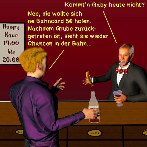 Cartoon: Bargespräche 6 (medium) by PuzzleVisions tagged puzzlevisions,bahn,railway,railroad,grube,chef,chief,manager,rücktritt,retirement
