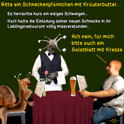 Cartoon: Schneckenromantik (medium) by PuzzleVisions tagged puzzlevisions,schnecke,snail,mussel,restaurant,romantic,romantik,salat,salad
