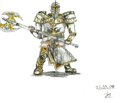 Cartoon: Inquisitor (medium) by uharc123 tagged warrior,axe,inquisitor,holy,guard