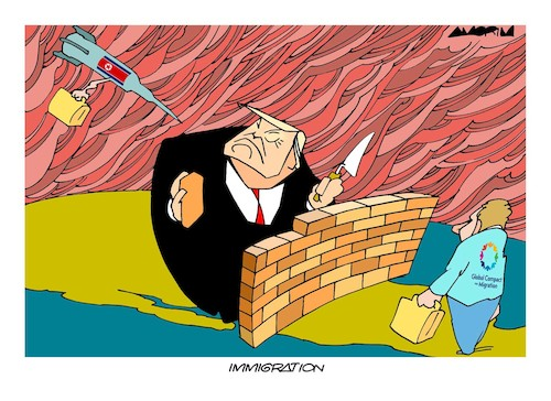 Cartoon: Global Compact Migration (medium) by Amorim tagged immigration,trump