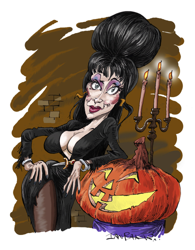 Cartoon: Elvira (medium) by Ian Baker tagged elvira,mistress,dark,horror,sexy,caricature,films,pumpkin