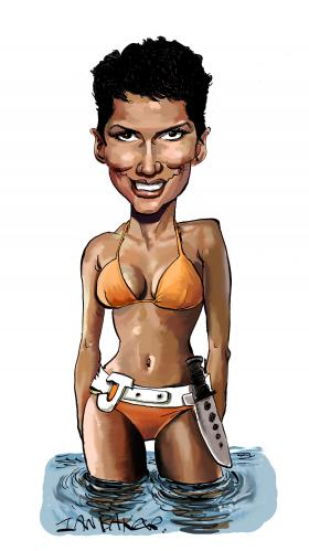 Cartoon: Halle Berry (medium) by Ian Baker tagged halle,berry,jinx,bond,girl,spy,bikini,sexy