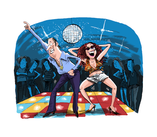 Cartoon: How to survive divorce book cove (medium) by Ian Baker tagged ian,baker,book,published,cover,art,cartoon,retro,nostalgia,disco,man,woman,couple,dancing,70s,seventies,humour,comedy