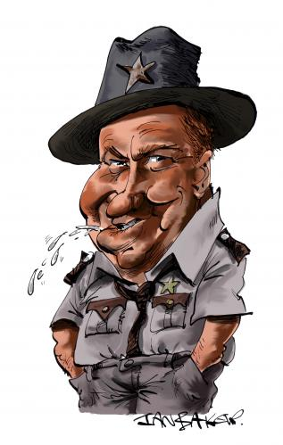 Cartoon: Sheriff J W Pepper (medium) by Ian Baker tagged bond,007,james,clifton,sherrif,live,and,let,die,louisiana,seventies