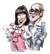 Cartoon: Elton John and Kiki Dee (small) by Ian Baker tagged elton,john,kiki,dee,music,pop,seventies,70s,ian,baker,caricature,rocket,records,dont,go,breaking,my,heart,number,one,style,clothes,fashion