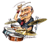 Cartoon: Phil Collins (small) by Ian Baker tagged phil,collins,genesis,drummer,music,ian,baker,cartoons,cartoonist,caricature,rock,drums,singer
