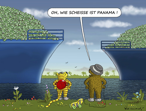 Cartoon: PANAMA IST NICHT SO SCHÖN (medium) by marian kamensky tagged panama,wash,center,panama,wash,center