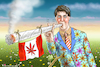 Cartoon: CANNABIS TRUDEAU (small) by marian kamensky tagged cannabis,trudeau,kanada,legalisation,marihuana