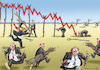 Cartoon: WALL STREET IN BEWEGUNG (small) by marian kamensky tagged dow,jones,crash,trump
