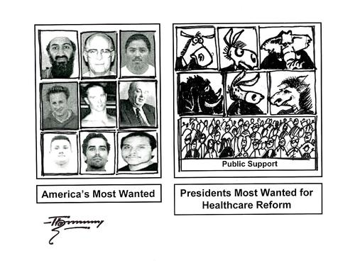 Cartoon: Most Wanted for US Healthcare (medium) by Thommy tagged us,healthcare,reform