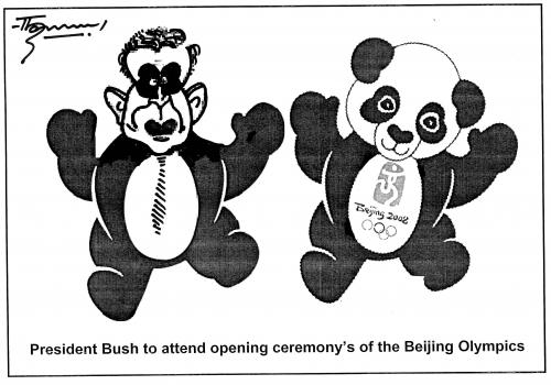 Cartoon: President Bush to Olympics (medium) by Thommy tagged olympics,bush,beijing