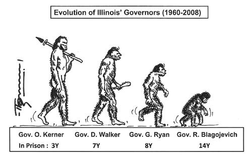 Cartoon: The Evolution (medium) by Thommy tagged illinois,governors