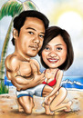 Cartoon: couple on the beach (small) by juwecurfew tagged couple,on,the,beach