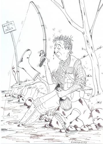Cartoon: divieto di pesca (medium) by paolo lombardi tagged italy,satire,nature,caricatures