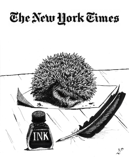 Cartoon: Satire in NYT (medium) by paolo lombardi tagged freedom,satire