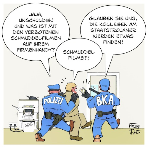 Cartoon: Bundestrojaner (medium) by Timo Essner tagged staatstrojaner,bundestrojaner,smartphone,handy,laptop,digitale,spuren,beweise,bürgerrechte,thomas,de,maiziere,innenminister,polizei,bka,lka,staatsanwaltschaft,cartoon,timo,essner,staatstrojaner,bundestrojaner,smartphone,handy,laptop,digitale,spuren,beweise,bürgerrechte,thomas,de,maiziere,innenminister,polizei,bka,lka,staatsanwaltschaft,cartoon,timo,essner