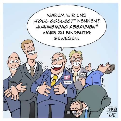 Cartoon: Toll Collect (medium) by Timo Essner tagged toll,collect,hanns,karsten,kirchmann,tiefensee,ramsauer,andreas,scheuer,alexander,dobrindt,staatssekretär,schulz,verkehrsministerium,verkehr,verkehrsminister,maut,autobahn,lkw,mautsystem,lastwagen,deutsche,telekom,systems,daimler,missbrauch,korruption,cartoon,timo,essner,toll,collect,hanns,karsten,kirchmann,tiefensee,ramsauer,andreas,scheuer,alexander,dobrindt,staatssekretär,schulz,verkehrsministerium,verkehr,verkehrsminister,maut,autobahn,lkw,mautsystem,lastwagen,deutsche,telekom,systems,daimler,missbrauch,korruption,cartoon,timo,essner