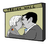 Cartoon: Forbidden Kiss (small) by Carma tagged merkel,tsipras,troika,the,wall,kiss