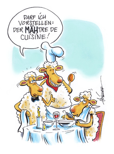Cartoon: Maitre de Cuisine (medium) by Hoevelercomics tagged französische,küche,gastronomie,schafe,schaf,cuisine,sheep,restaurant,koch,chef