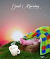 Cartoon: Good Morning (small) by Rüsselhase tagged pig,coffee,sun,goodmorning,poster