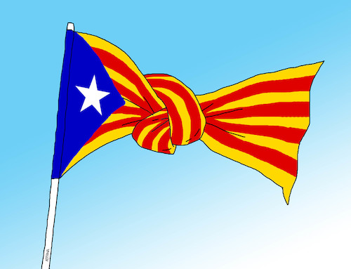 Cartoon: catalflag (medium) by kotrha tagged independence,referendum,catalonia,spain,europe,euro,peace