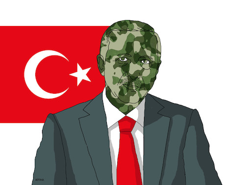 Cartoon: erdomask (medium) by kotrha tagged turkey,syria,kurds,isis,usa,war,erdogan,assad,trump,putin