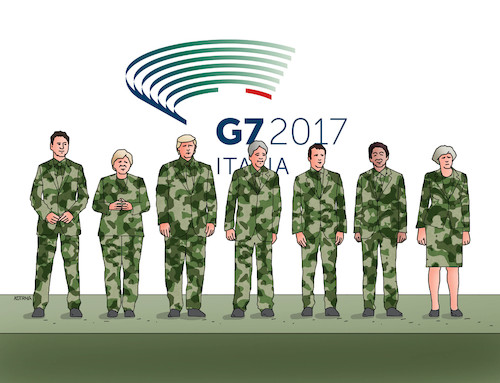 Cartoon: g7mask (medium) by kotrha tagged g7,meeting,italy,2017,trump,merkel,macron,may,world,peace,climate