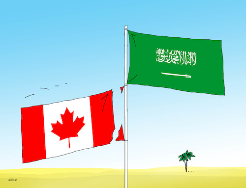 Cartoon: kanasaud2 (medium) by kotrha tagged saudi,arabia,diplomatic,war,canada,ambassador,oil,business,activities