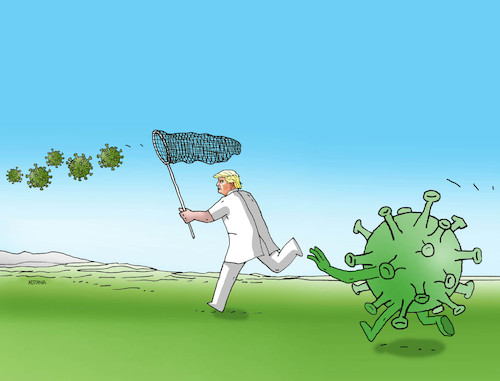Cartoon: korotrump3 (medium) by kotrha tagged coronavirus,covid,19,pandemics