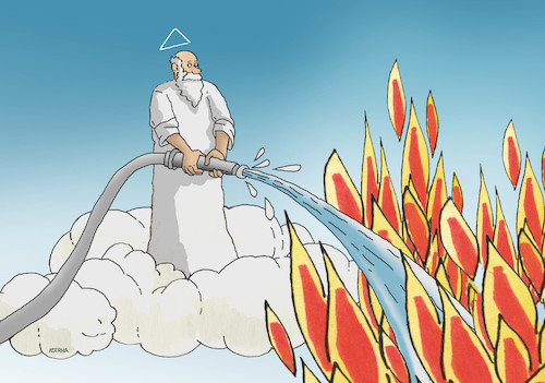 Cartoon: notre-dame (medium) by kotrha tagged notre,dame,paris,france,fire
