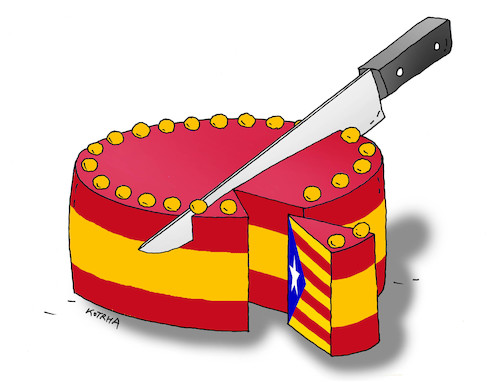 Cartoon: spaintorta (medium) by kotrha tagged independence,referendum,catalonia,spain,europe,euro,peace