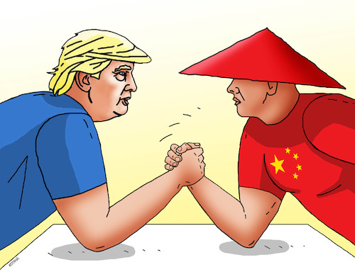 Cartoon: trumpchina19 (medium) by kotrha tagged dollar,yuan,usa,china,currency,war