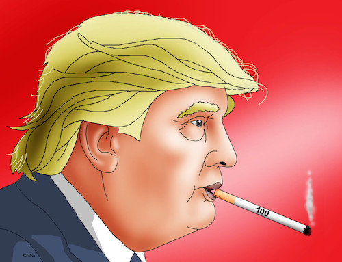 Cartoon: trumpstovka (medium) by kotrha tagged usa,president,donald,trump,hundred,days