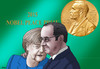 Cartoon: nobelpeace (small) by kotrha tagged nobel,peace,prize,merkel,germany,world,refugees