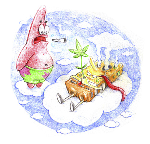 Cartoon: Patrick and Sponge smoked out (medium) by Trippy Toons tagged spongebob,sponge,bob,squarepants,patrick,star,schwammkopf,eyes,augen,bloodshot,cannabis,marihuana,marijuana,stoner,stoned,kiffer,kiffen,weed,ganja,smoke,smoking,rauch,rauchen