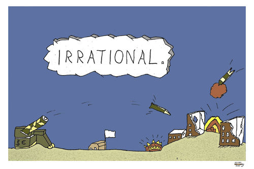 Cartoon: Irrational (medium) by zeichenstift tagged war,krieg,sinnlos,geld,money,global,conflicts,politics,terrorism,goverment,bomben,opfer,kanonen,raketen,rockets,bombs,konflikte