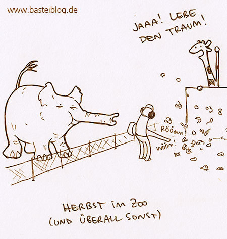 Cartoon: Laubbläser. (medium) by puvo tagged herbst,laubbläser,lärm,laub,zoo,elefant,giraffe,elephant,noise,leaves,blatt,blätter,foliage,leaf,blower