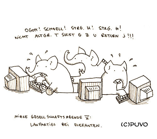 Cartoon: Miese Gesellschaftsabende V. (medium) by puvo tagged elefant,lan,party,computer,pc,keyboard