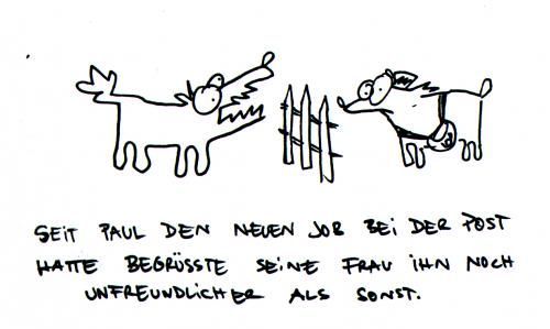 Cartoon: Postbote. (medium) by puvo tagged post,postbote,hund,bellen
