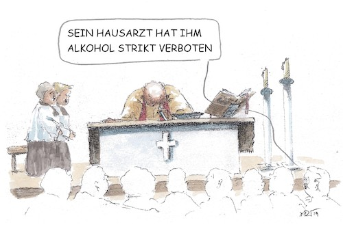 Cartoon: Striktes Alkoholverbot (medium) by JORI tagged katholisch,kirche,messwein,kokain,abendmahl,priester